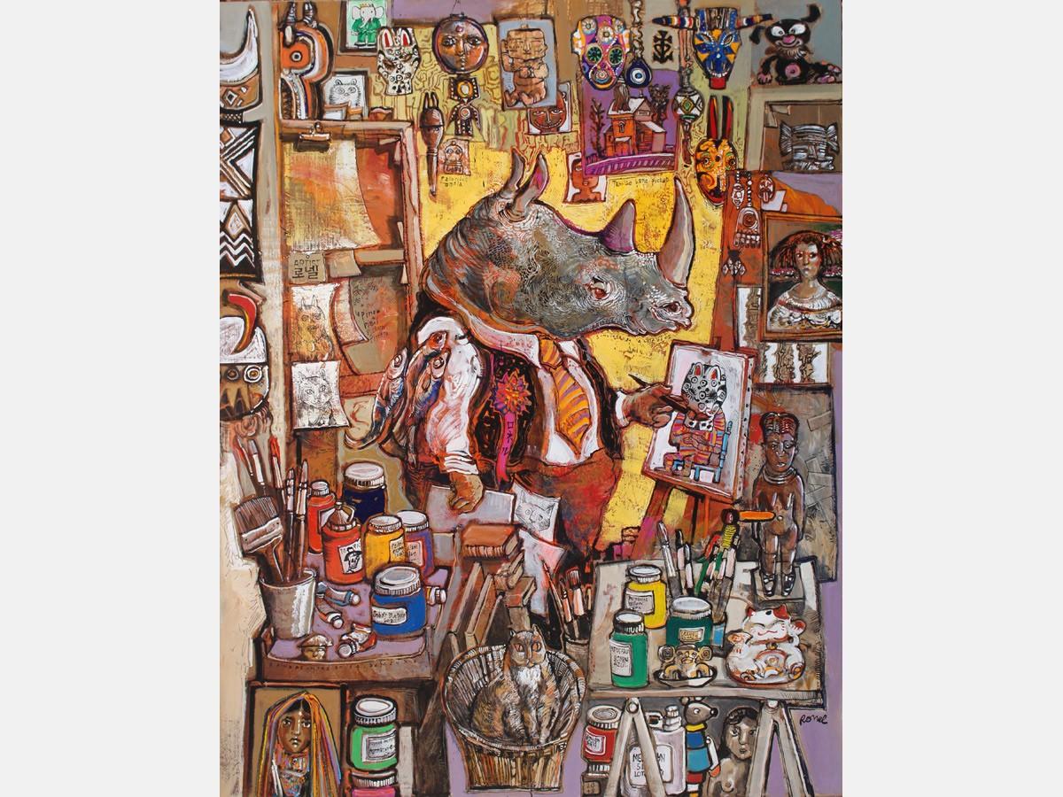Rhinopeintre en sa demeure 114 x 146 cm - 2019