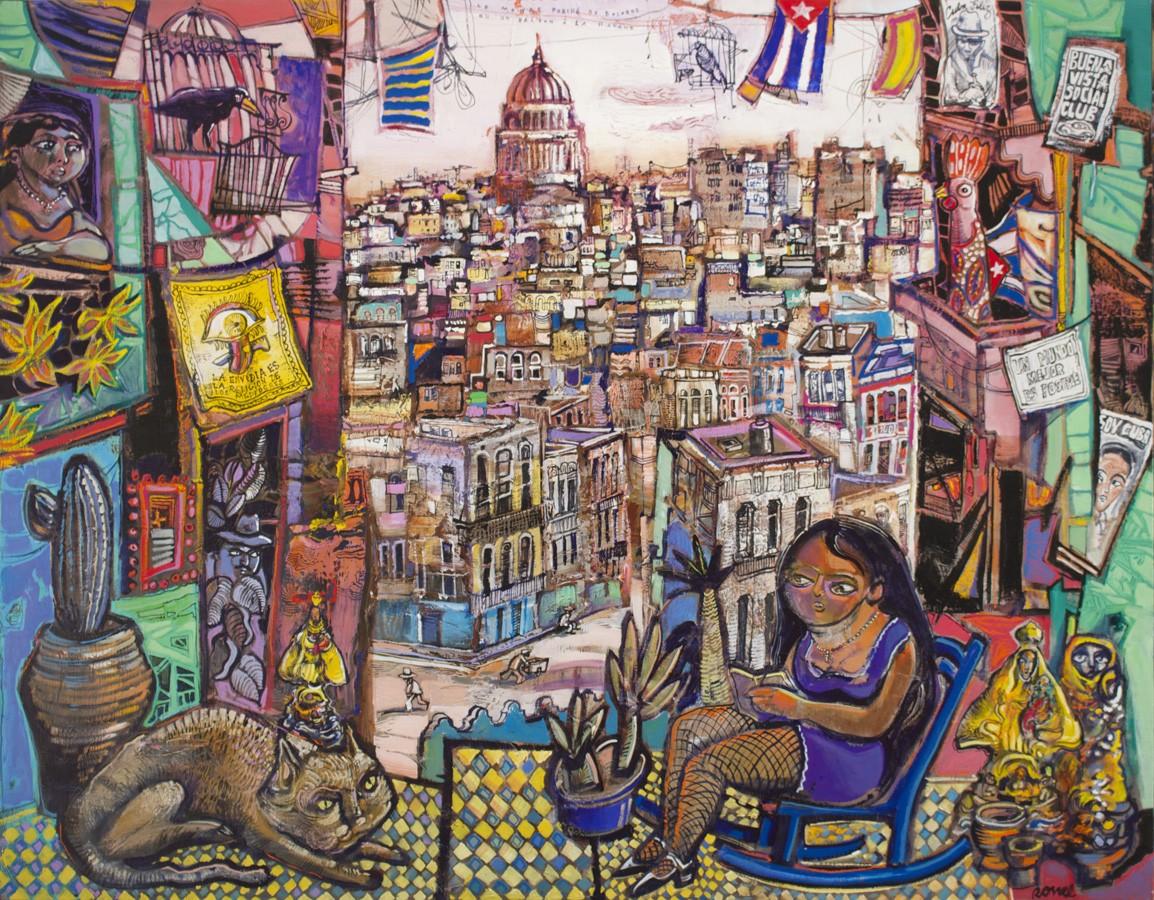 Le monde perché de Dolores ou un balcon à la Havane 114 x 146 cm - 2018