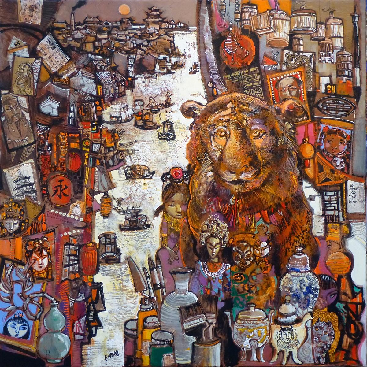 Le canal du tigre bienveillant 120 x 120 cm - 2013