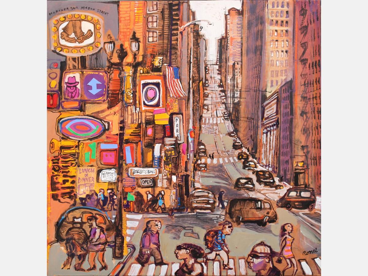 Marcher sur Mason street 60 x 60 cm - 2016
