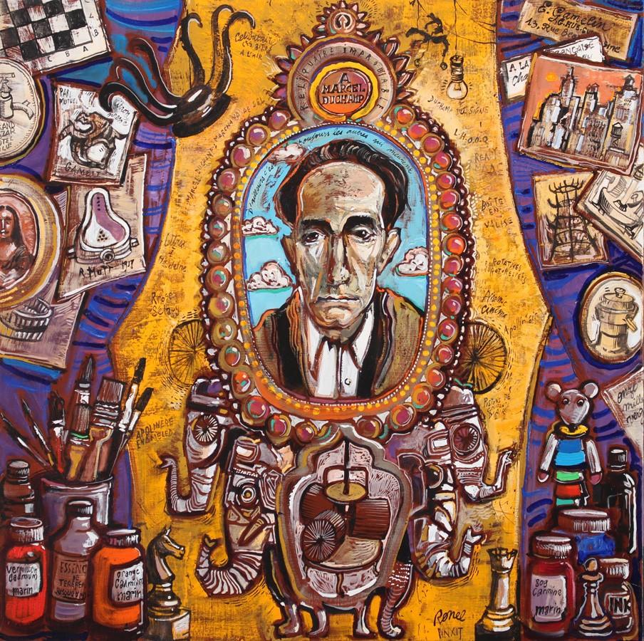 Reliquaire improbable à Marcel Duchamp 80 x 80 cm - 2018