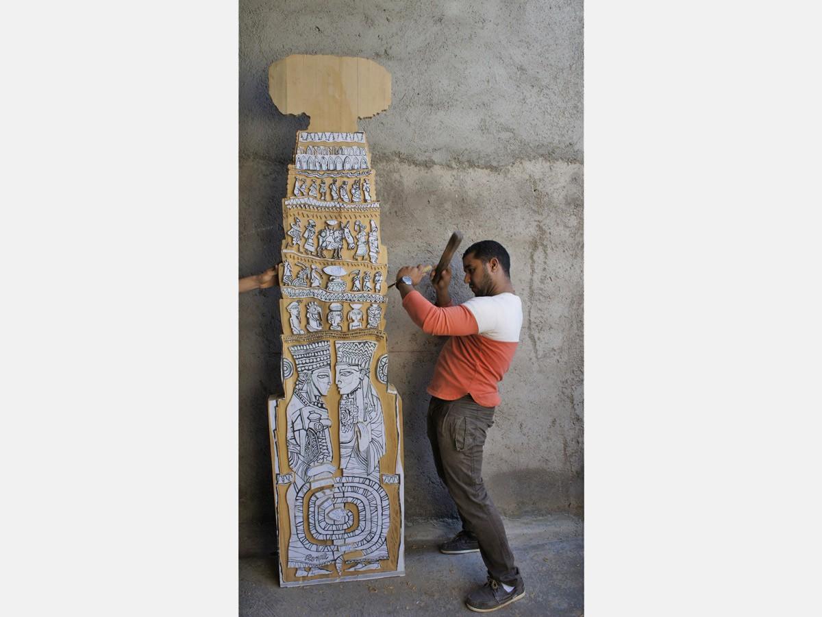 2012 Stèle en mosaïque de céramique Biennale Off, Park Hyatt, golf Al Maaden - Marrakech