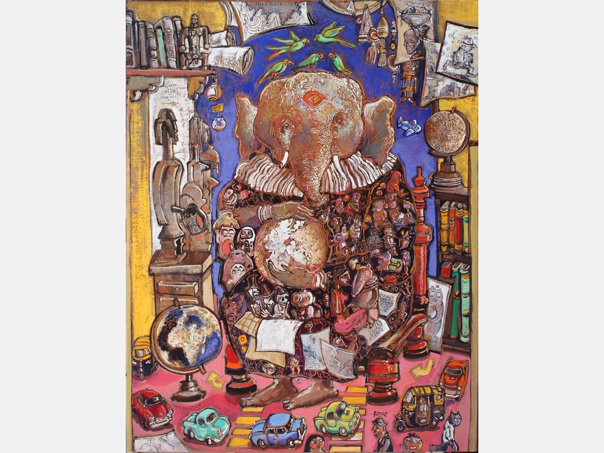 Le gardien du monde ou le repli du géographe 114 x 146 cm - 2019